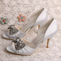 Wedopus MW347 Custom Handmade New Classic Open Toe Bridal Silver Shoes High Heels