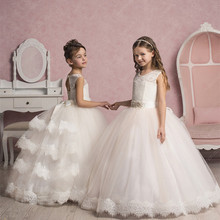 2016 Tulle Lace Flower Girl Dresses Sleeveless Ball Gowns First Communion Dress Long Girls Pageant Dresses For Wedding