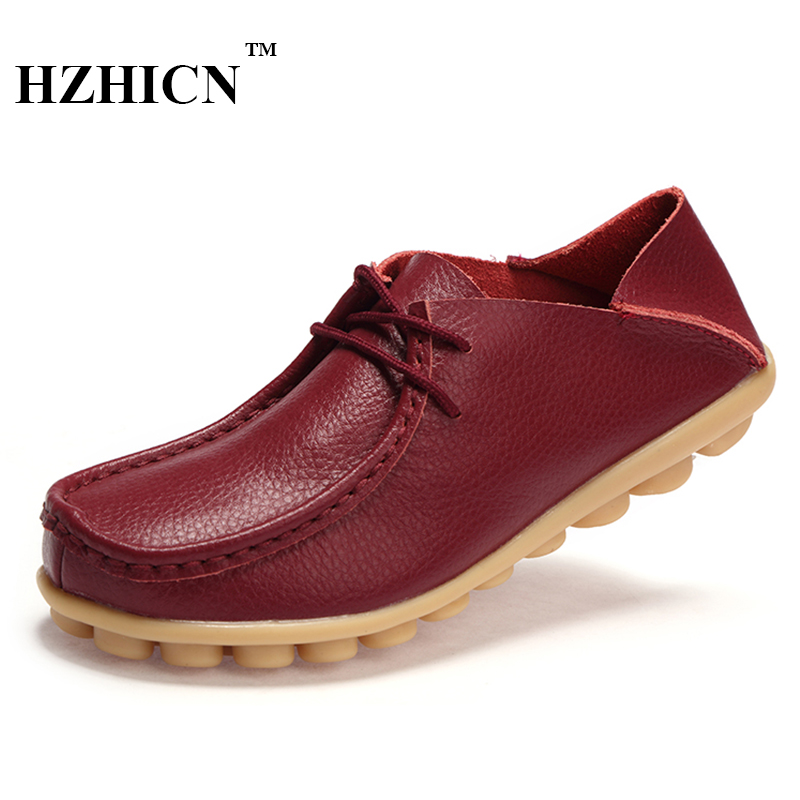 Big Szie Mother Shoes Genuine Leather Shoes for Women Casual Loafers Fashion Oxfords Luxury Flats Soft and Comfortable Moccasins fashion brand genuine leather shoes for women casual mother loafers soft and comfortable oxfords lace up non slip flat moccasins