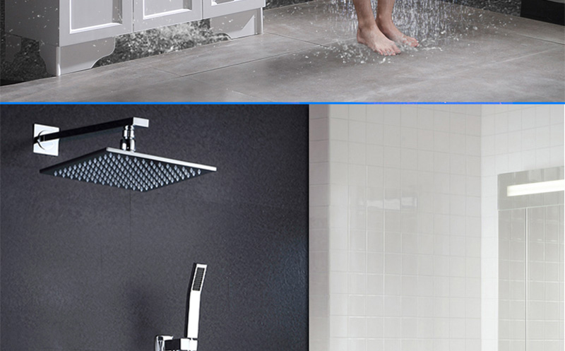 DCAN 10 Rainfall Shower Head System Polished Chrome Bath Wall Mounted Shower Faucet Bathroom Luxury Rain Mixer Shower Combo Set (29)