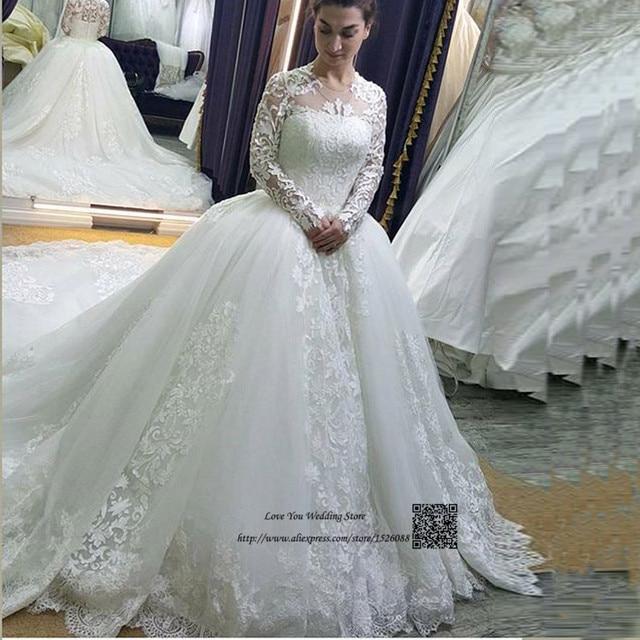 d4119f77929 Vestido de Noiva Manga Longa 2017 Princess Arab Wedding Dresses Turkey Long  Sleeve Wedding Gowns Lace Chapel Train Bride Dress