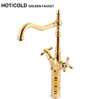 New Arrival Quality Tall Two Handles Gold Faucet Bathroom Gold Water Tap Hot Cold