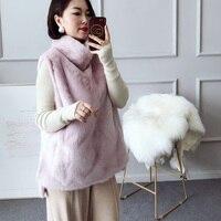 Glassic Модные женские коричневые норки жилет, женские розовый норки пуловер, высокий воротник жилет, тонкий жилет