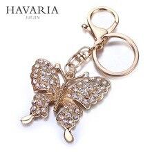 HAVARIA Alta calidad Rhinestone de La Mariposa de la Joyería mujeres titular de la clave llavero anillo llavero de coche llavero llaveros bolsa colgante Encanto bbk-001