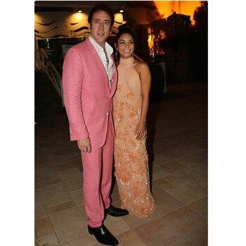 Latest Coat Pant Designs Coral Pink Linen Custom Groom Beach Men Suits 2 Pieces Red Carpet Tuxedo Slim Fit Terno Jacket+Pants..1