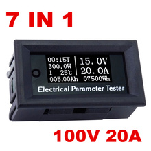 7in1 OLED100v/20A Voltage current electrical meter Time temperature capacity voltmeter Ammeter  Multifunction Tester 40% off