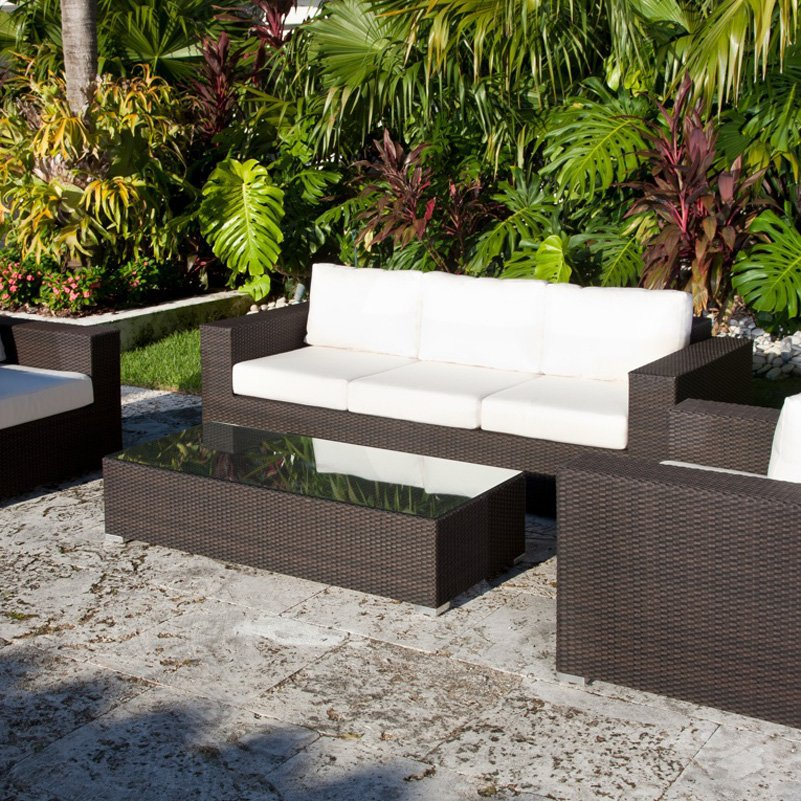 Outdoor Patio Furniture King Collection All Weather Wicker Conversation Set