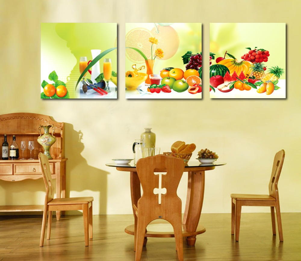 Buy 3 piece canvas art home decoration for Dining wall painting