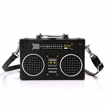 Personība Retro radio formas maiss Dāmas Cute rokassomu plecu soma Messenger Bag Rock Crossbody Bag