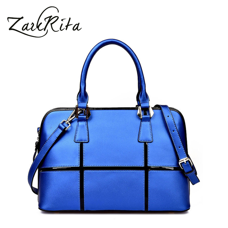 ZackRita 2017 Brand Genuine Leather Luxury Handbags Women Bags Designer Glossy Cowhide Female Messenger Tote Shoulder Bag B116 new american luxury style 100% oil genuine leather women composite shoulder bag brand designer cowhide handbags tote li 1358
