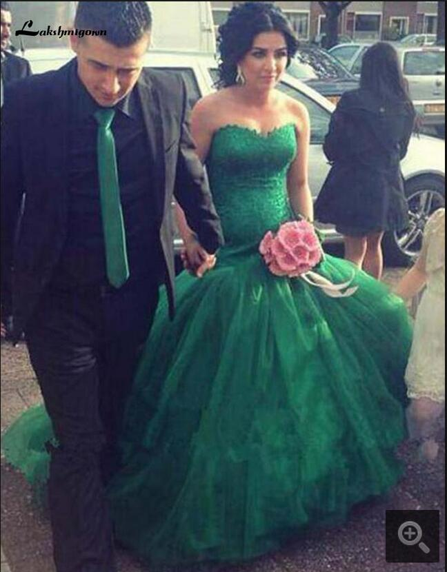 2017 New arrival sexy Mermaid green lace prom dress strapless with sweetheart neck elegant formal prom gowns best selling