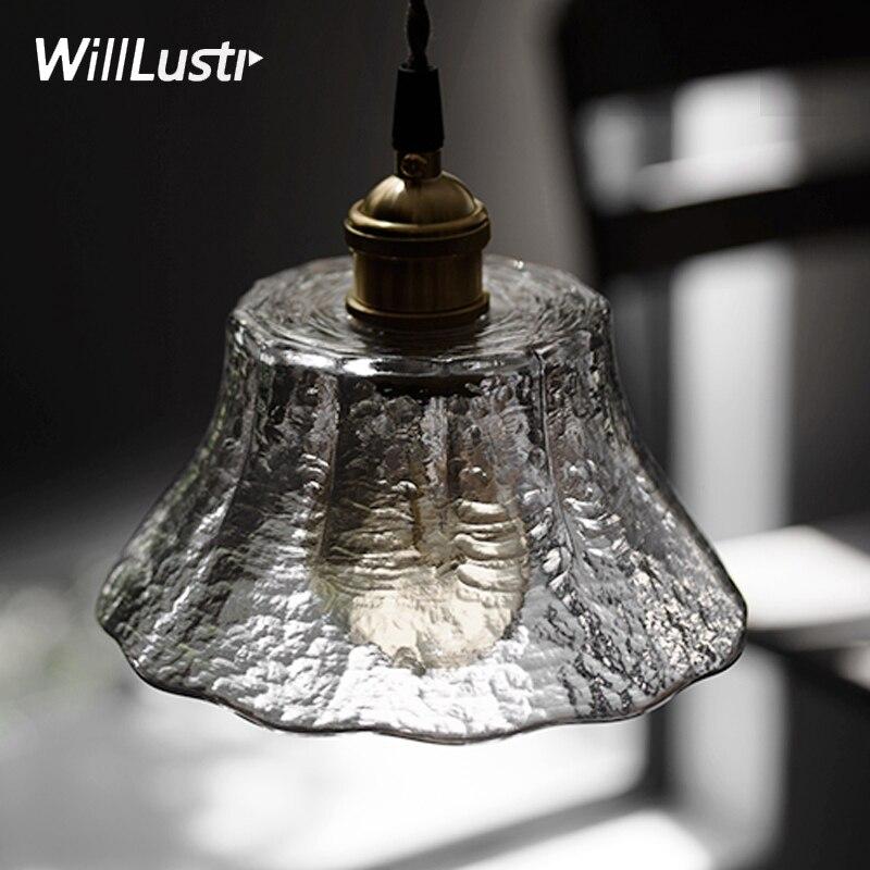 Lampe à suspension en verre à motif martelé à la main en verre dépoli suspension luminaire art restaurant hôtel salle à manger