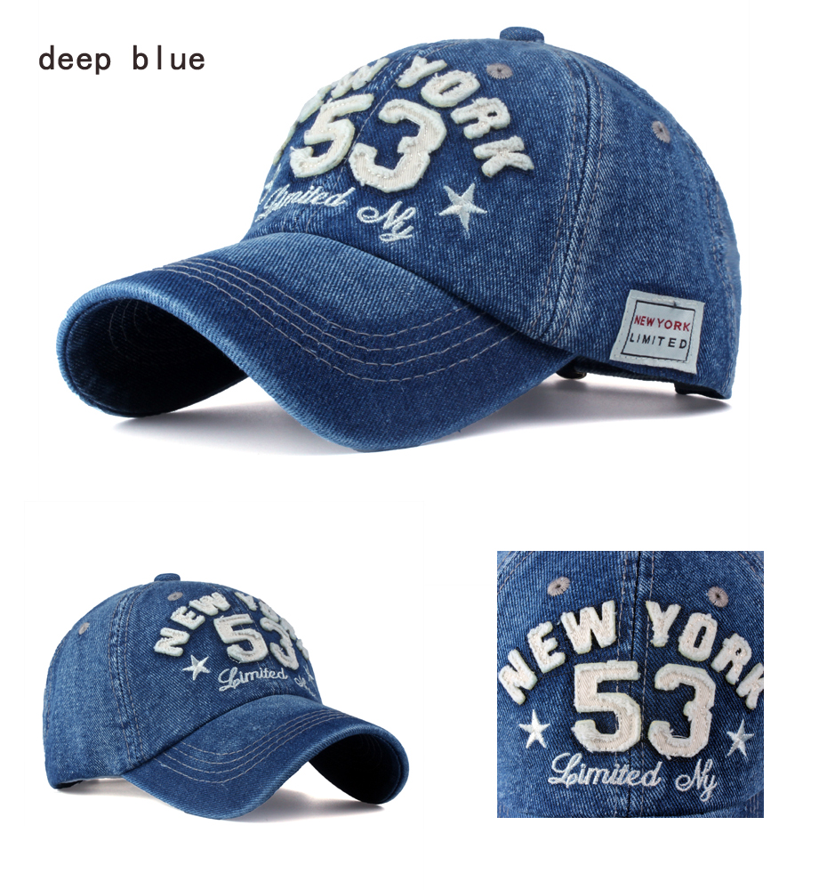 Old Style New York Lettering Pre-washed Denim Baseball Cap - Deep Blue Cap Detail Views