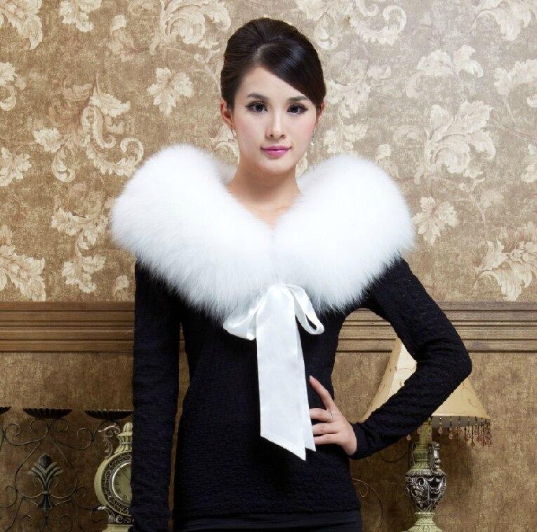 SUPER luxe grande taille femmes STYLSIH solide blanc véritable fourrure de renard écharpe châles dames vraie fourrure de raton laveur enveloppes étoles avec robinets