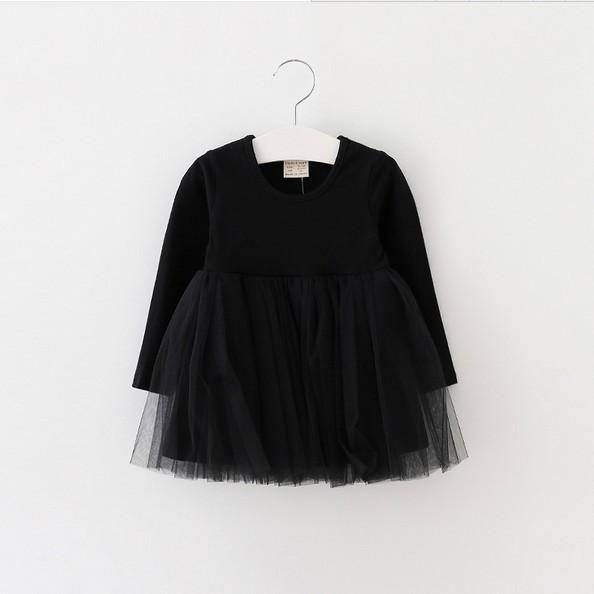 2016 nuevas muchachas del otoño vestido de Tutú de La Princesa niños vestido de hilo de algodón del bebé ropa de la muchacha para la navidad