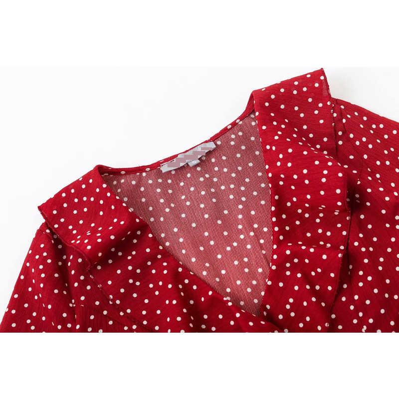 Style français femmes été col en v trois quarts manches avec blanc à pois haut T-shirt femmes courte longueur papillon manches haut