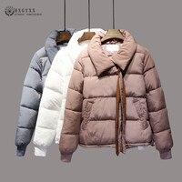 Puffer Jacket Women Winter Coat Plus Size Thick Short Down Parka Turn down Collar Loose Zipper Cotton Padded Outwear 2018 Okd360