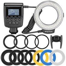 Neewer 48 Wyświetlacz LCD LED Macro Ring Flash Light RF550D z Czterema Nawiewniki 8 Pierścienie Adapter Nikon Canon Panasonic Pentax