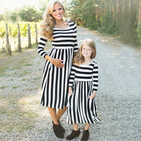 Mother Daughter Dress Long Sleeve Dresses Stripe Family Matching Outfits Mom Girl Dress Long Clothes Europe