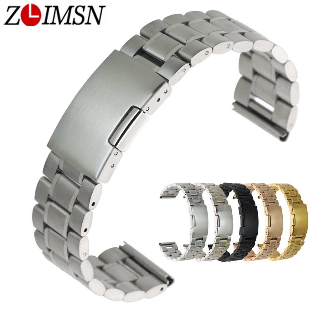 где купить ZLIMSN Stainless Steel Watch Band 18mm 20mm 22mm 24mm 26mm Black Solid Steels Bands Watchband Bracelet Watch Accessories relogio по лучшей цене