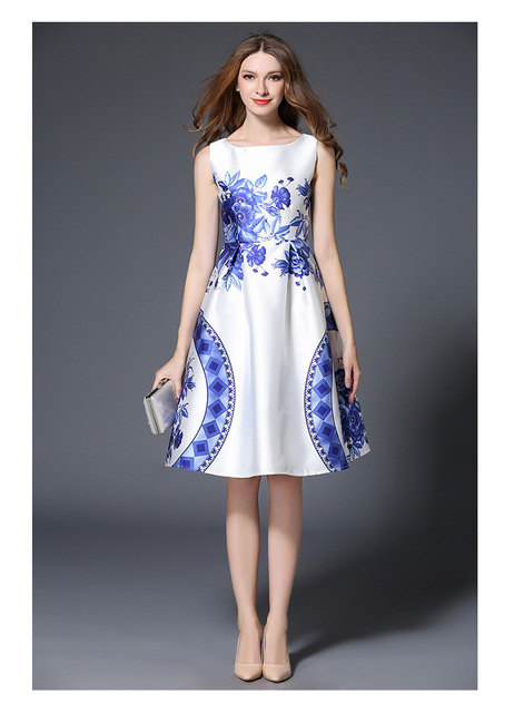 0b7aef3f3549e Women Dresses Spring 2017 Summer Dress Flower Floral Printed Dress  Sleeveless fresh elegant Fashion Blue white porcelain Dress