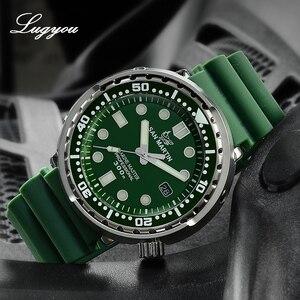 Image 3 - LUGYOU San Martin TUNA automatyczny męski zegarek do nurkowania ze stali nierdzewnej 30Bar wodoodporny pasek silikonowy Super Glow Sapphire data