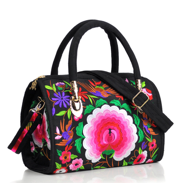 Vintage Women Bag Canvas Flower Embroidered Women Handbag Boho Embroidery Mandala Shoulder Messenger Bag For Woman Girls 4