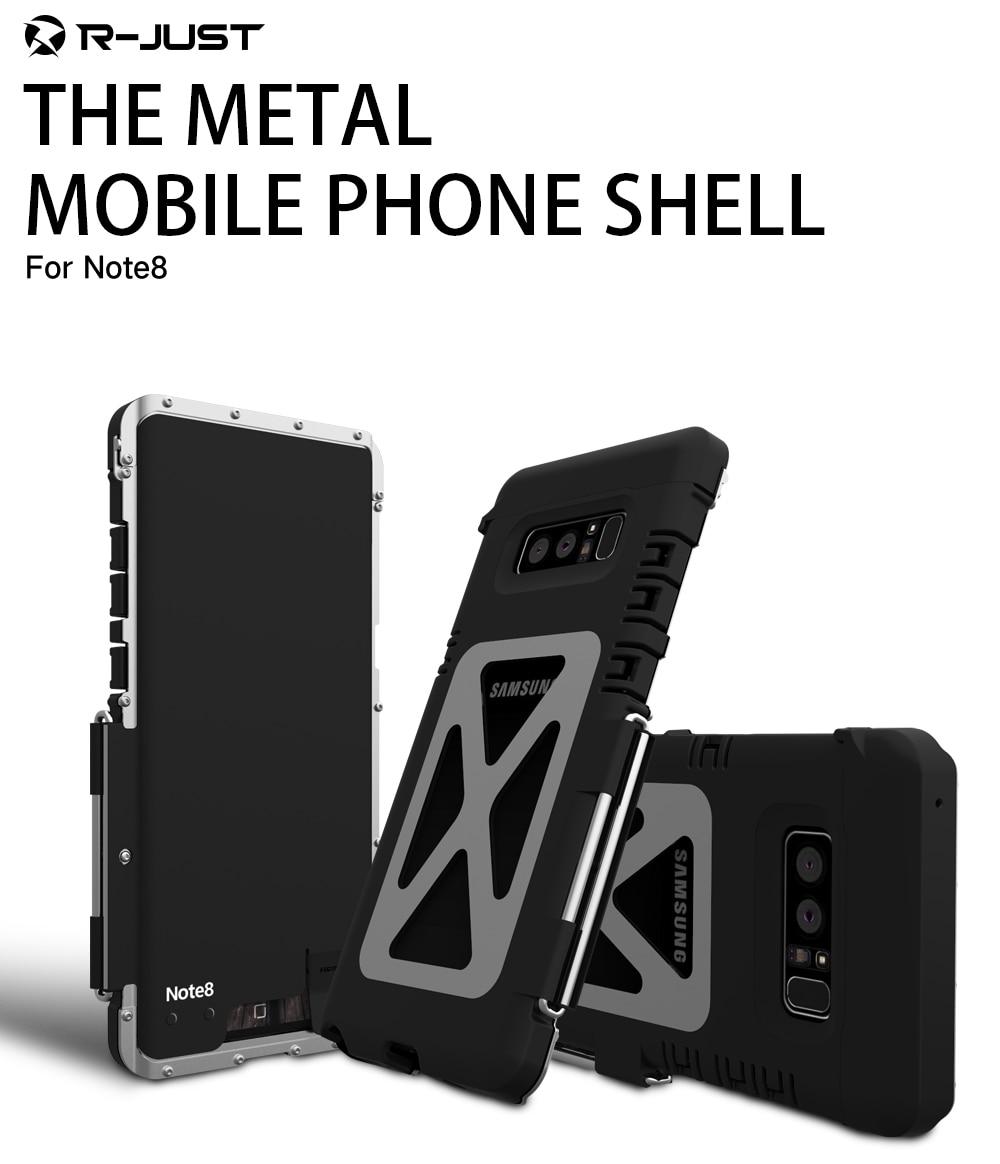 Note 8 Coque originale r-just pour Samsung Galaxy note 8 Coque Flip housse armure aluminium métal antichoc Coque téléphone Capa