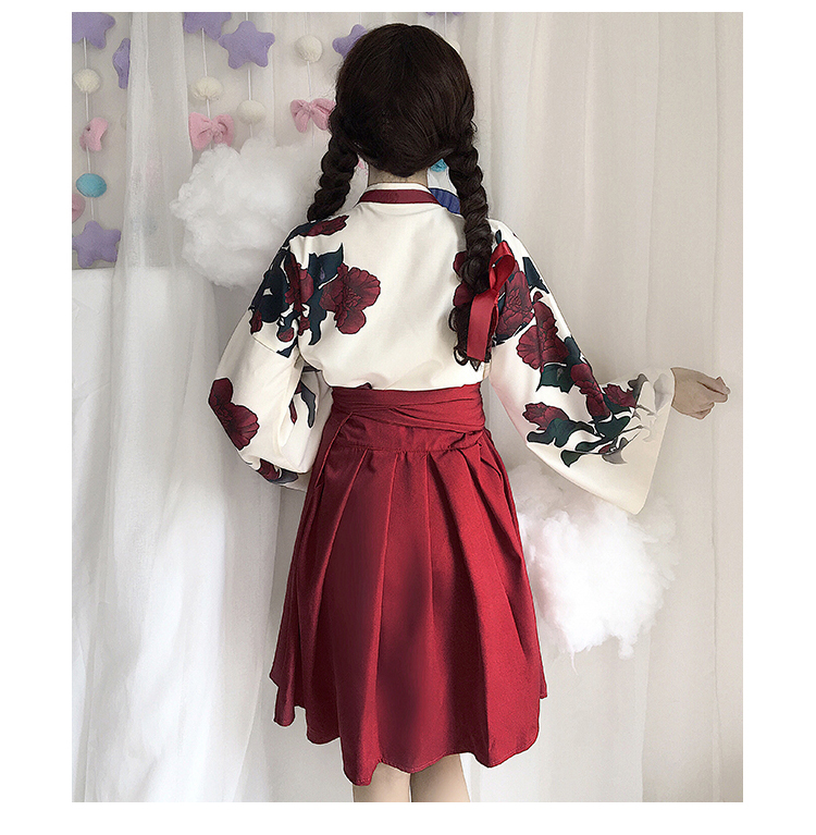 Girls Japanese Style Retro Kimono Floral Long Sleeve Woman Party Dress Summer Fashion Outfits Top Bow Skirt Haori for Female 12