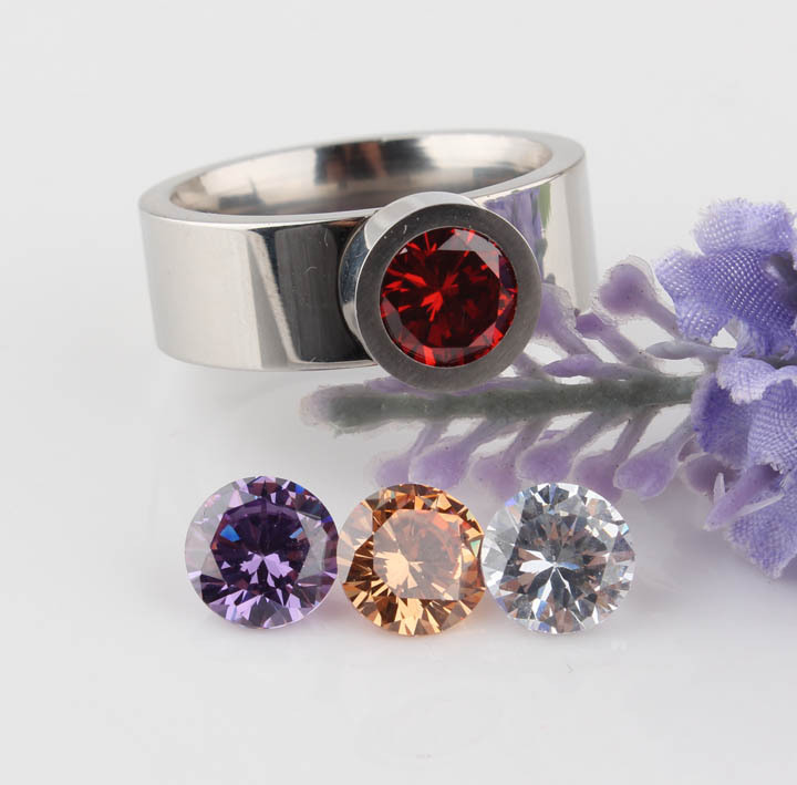 Top Quality Brand Fashion Women Rings Four Color Crystal Zircon 316L Stainless Steel Ring For Women CZ Stone Interchangeable