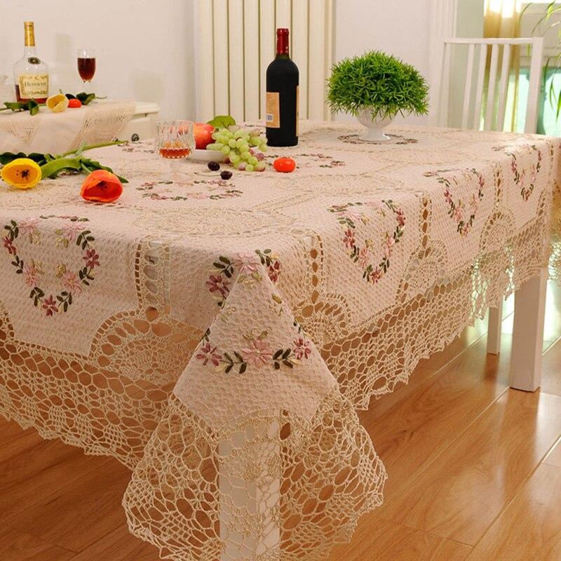 Grande nappe de mariage Beige fleur Crochet rond et rectangulaire nappe de Table broderie nappe noël Table à manger couverture