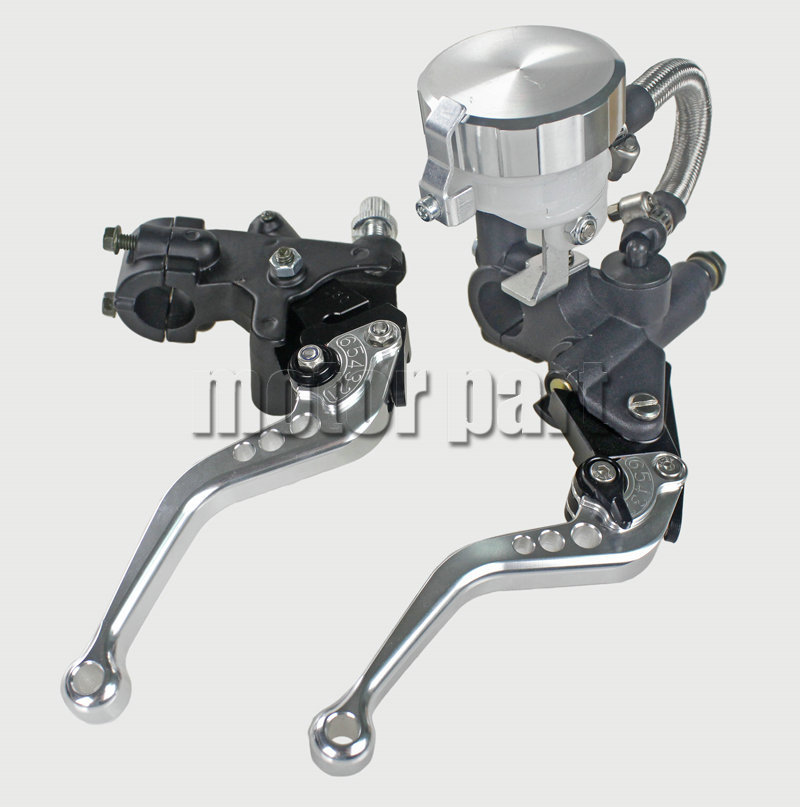 22mm 7/8 Universal Handlebar Adjustable CNC Brake Clutch Levers Master Cylinder Fluid Oil Reservoir Set For Ducati Silver color universal motorcycle brake fluid reservoir clutch tank oil fluid cup for mt 09 grips yamaha fz1 kawasaki z1000 honda steed bone