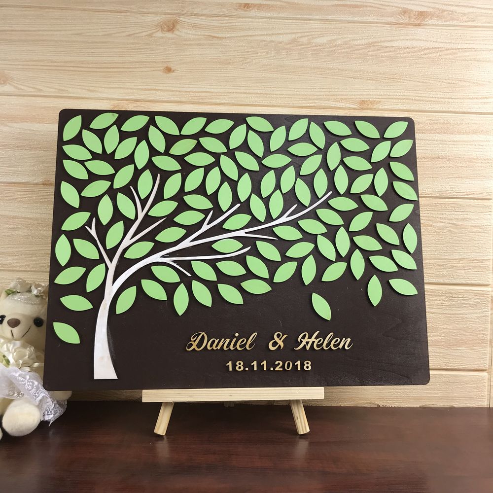 Personalized name and date 3D Trees Wedding Guest Book, Custom Guest Book Ideas,Unique Book For Wedding,Rustic Guest Book image