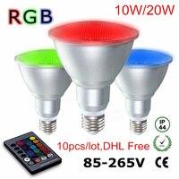 0 шт. par30 par38 10 Вт 20 Вт rgb светодиодные фары затемнения зонтик лампы алюминий и стекло водонепроницаемый Дистанционное управление лампы AC110V-220V