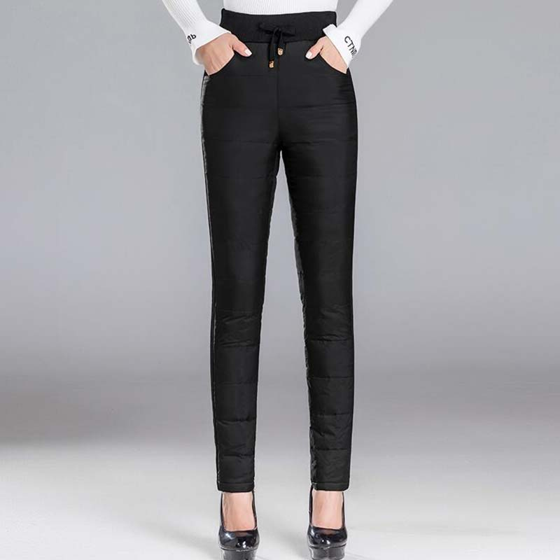 Winter Women Down Pants Trouser Fashion Elastic Waist Thick Warm White Duck Down Pants Casual Female