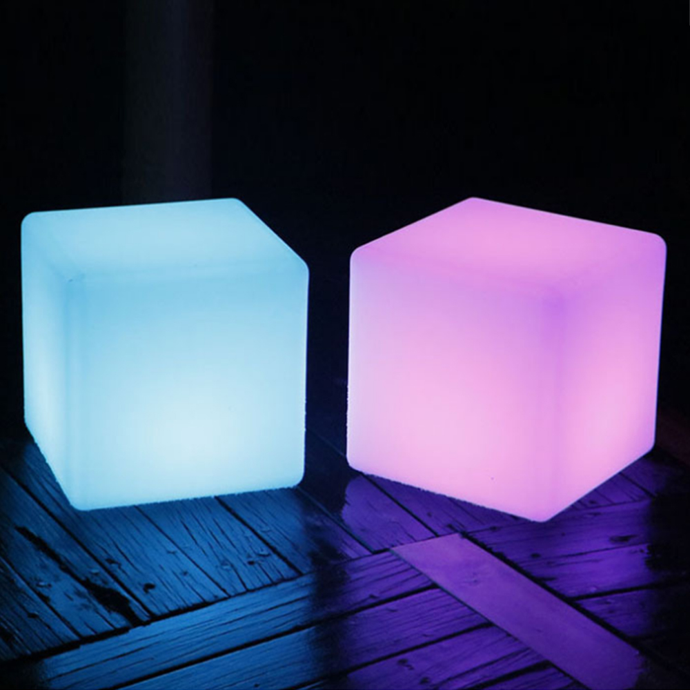 side stool LED luminous cube outdoor luminous furniture creative bar stool remote control colorful changing Size 30CM led cube chair outdoor furniture plastic white blue red 16coours change flash control by remote led cube seat lighting
