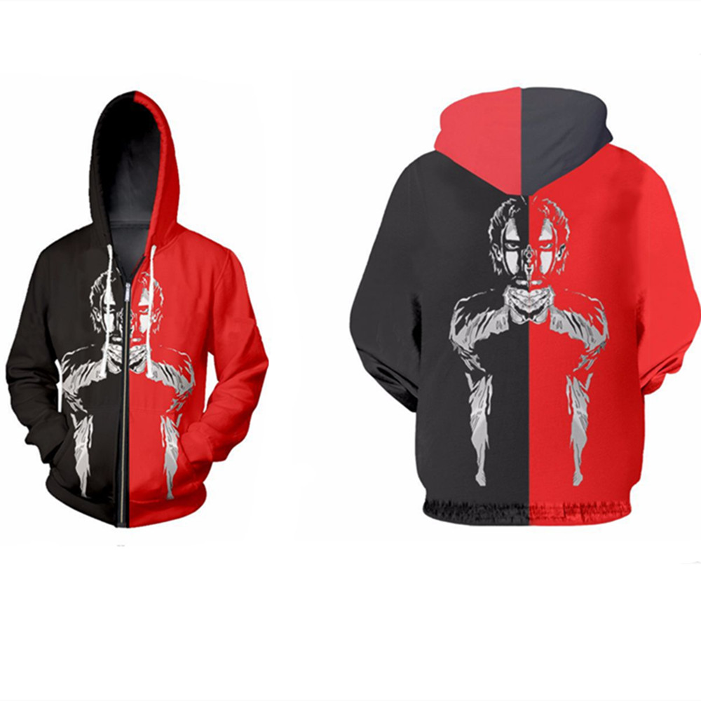 assassin Costume Shooter Sweatshirts Cosplay Autumn Men European and American 3D Printing zipper Jacket Hooded sweater