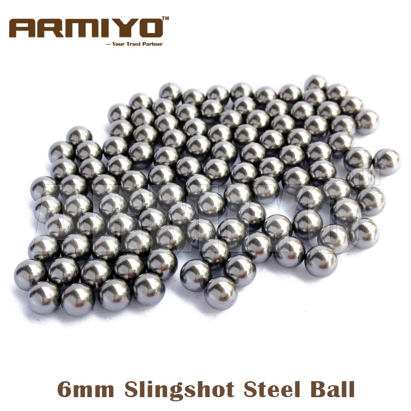 Armiyo 100pcs/lot 6mm Diameter Slingshot Sling Shot Stainless Steel BB Balls Hunting Shooting Paintball Accessories