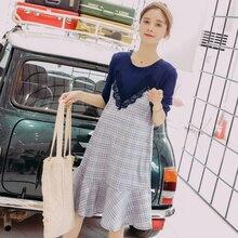 44f9fcbf57d 8051  2018 Autumn Korean Fashion Maternity Dress Plaid Patchwork Lace  Clothes for Pregnant Women Long