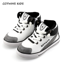 CCTWINS KIDS Autumn Winter Boys Fahion High To Sneakers For Baby Girls Genuine Leather Shoes Children