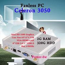 Mini PC Intel N3050 Quad Core Max 2.08GHz 2GB RAM 320GB HDD VGA HDMI 4K HTPC Small TV Box Windows 10 Fanless Barebone usb 3.0