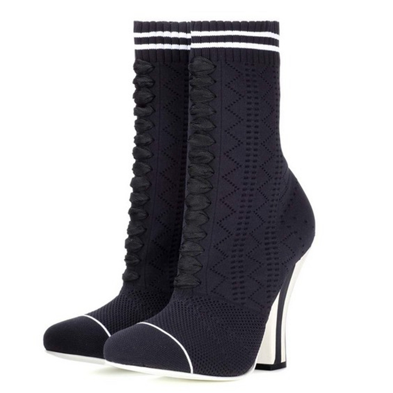 THEMOST Dames Gebreide laarzen New Fashion schoenen 2017 Big size 33-43 Autumn Winter Ronde neus Wollen laarzen voor dames Hoef hakken