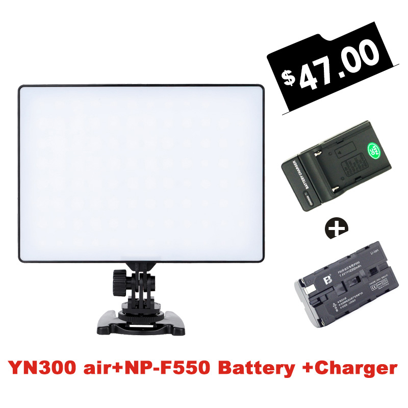 Ulanzi YONGNUO YN300 air 3200k-5500k YN-300 air Pro LED Camera Video Light + FB-F550 Battery + Charger for Canon Nikon Dslrs