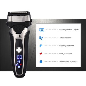 Image 3 - USB Rechargeable Electric Shaver Stainless Steel Shaving Machine Men 3D Triple Floating Blade Razor Shaver barbeador eletrico