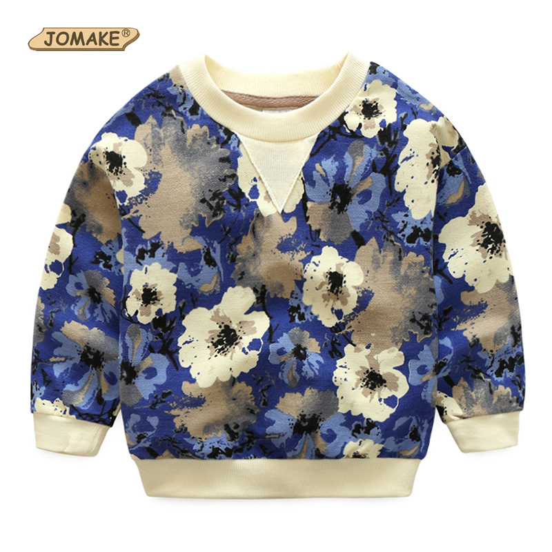 JOMAKE Boys Sweatshirts Floral Printed Children Sweatshirt Kids Long Sleeve Tops For Boys 2018 Spring Retro Toddler Boy Clothing