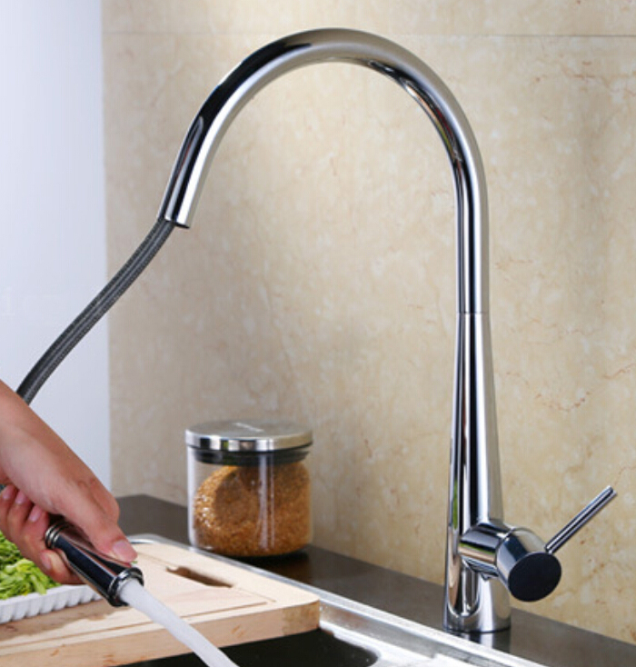 Free Shiping Chrome Brass Pull Out Sprayer Brass Kitchen Sink Faucet Swivel Spout Mixer Tap KF880-C