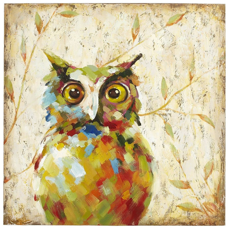 Modern Colorful Animal Night Owl Oil Painting on Canvas ...
