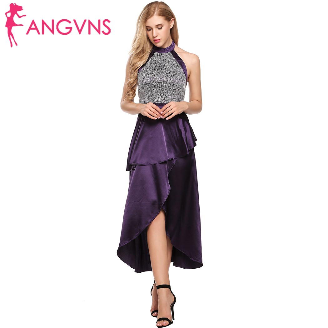 ANGVNS Party Maxi Long Dress Women Halter Backless Ruffles Sexy Dresses Elegant Lace Patchwork Robe Satin Split Evening Vestidos