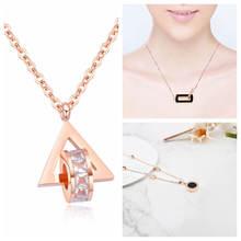 Ожерелье из титановой стали с подвеской кристаллом женское новое