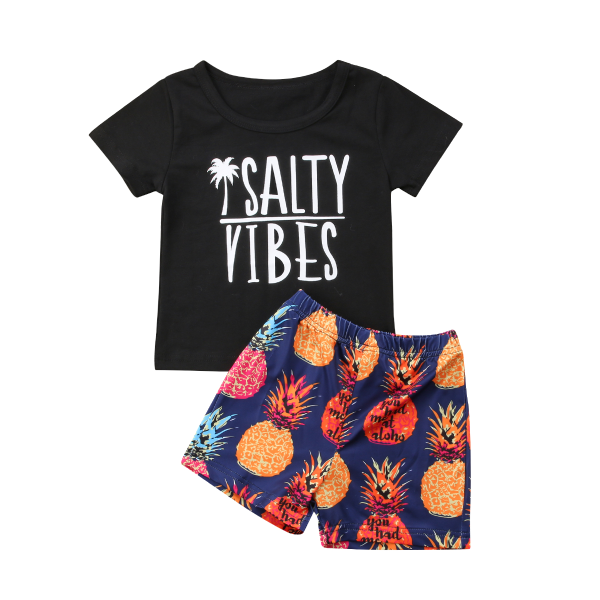 Toddler Kids Baby Boy Tops T-shirt Pineapple Shorts Pants Beach Outfits Summer